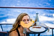 Smile. Breakfast at stateroom balcony, Silhouette