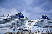 Norwegian Epic (L) and Norwegian Sun (R). Punta Langosta Pier, Cozumel.