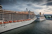 MSC Fantasia and Costa Serena seen from Celebrity Silhouette
