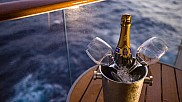 Sparkling wine at stateroom balcony