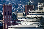 Emerald Princess passing Oslo Town Hall