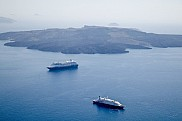Seadream 1 and Azamara Journey (behind). Santorini, Greece.