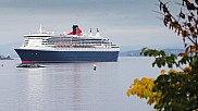 Queen Mary 2 sailing towards Oslo, Norway.