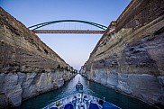 Seadream 1 sailing through the Corinth Canal